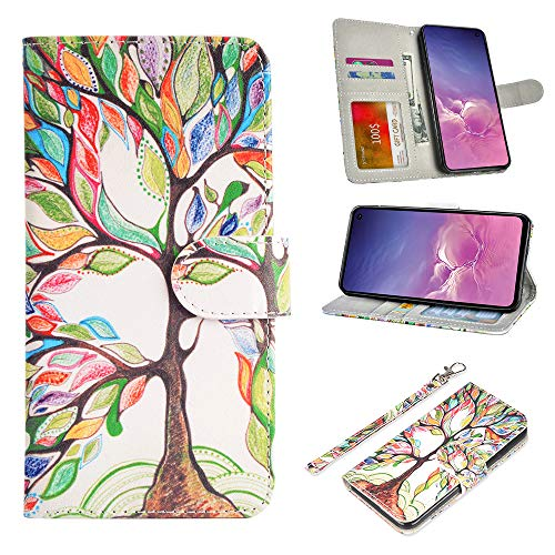 UrSpeedtekLive Galaxy S10e Case, Galaxy S10e Wallet Case, Premium PU Leather Wristlet Flip Wallet Case Cover with Card Slots & Stand for Samsung Galaxy S10e - Love Tree