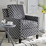 Safavieh Home Collection Buckler Black and White with Silver Nailhead Trim Club Chair