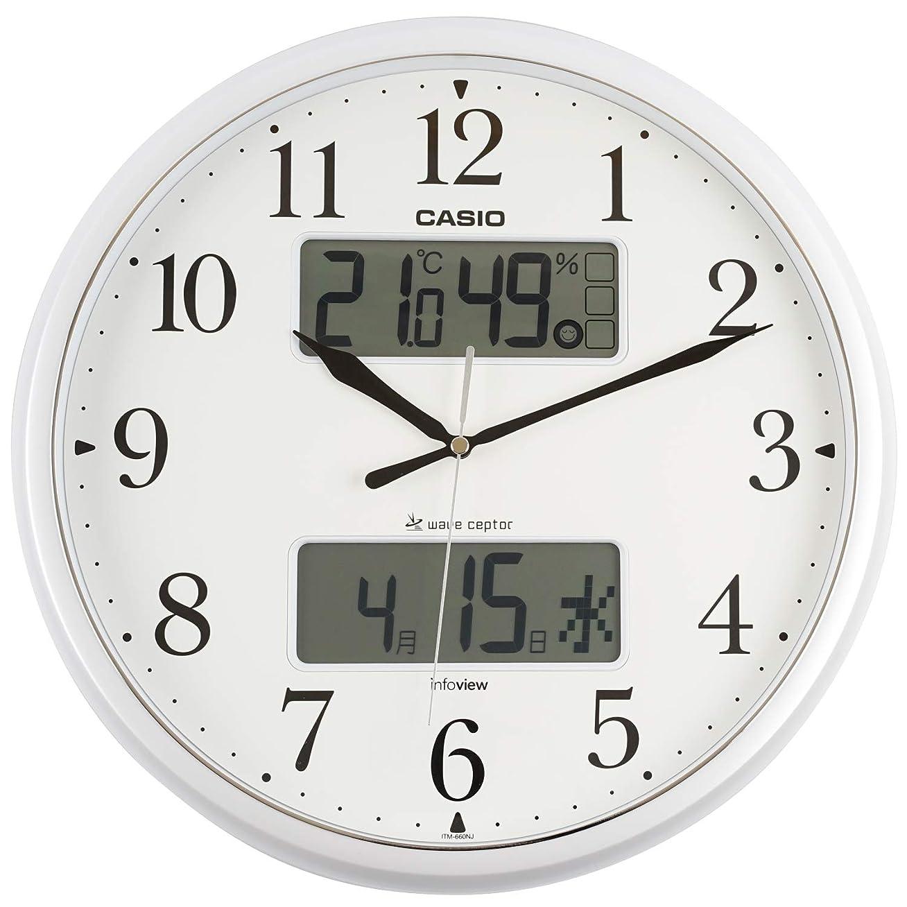 スピン演劇なんでもCASIO(カシオ) 掛け時計 電波 シルバー 直径35cm アナログ 常時点灯 生活環境 温度 湿度 カレンダー 表示 ITM-660NJ-8JF