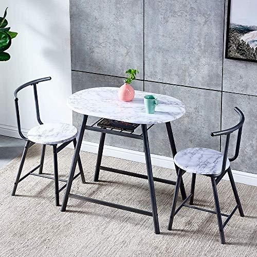 HCJZWJ Juego de 3 mesas de Comedor pequeñas para Uso en Interiores y Exteriores, Mesa de Comedor de Cocina de Madera Maciza con 2 sillas de Comedor,White