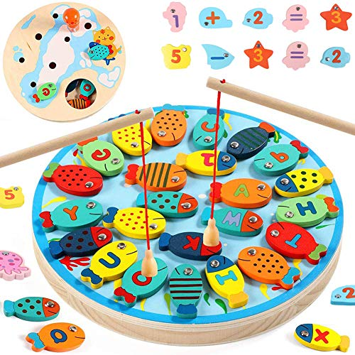 HahaGo 2 In 1 Angelspiel Holz Magnetische Alphabet Brief Angeln Spielzeug Fischspielzeug STEM Kit Vorschul-Lern-Bildungsset für Mädchen Jungen Kleinkinder Geburtstagsgeschenke