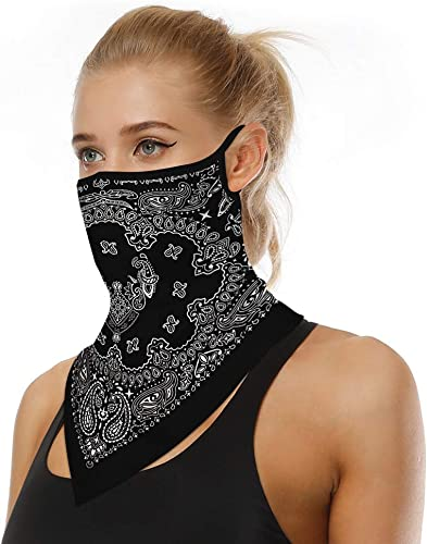 high quality Neck Gaiter online sale with Ear Loops Face Bandana Mask discount Half Face Scarf Cooling Neck Cover UV Protection for Men Women and Teens Black sale