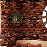 Yancorp 18' x 120' Self-Adhesive Brick Wallpaper Rust Red Brown Paper Fireplace Backdrop Peel and Stick Wall Decor Stick on Door Countertop Liners