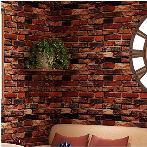 "Yancorp Self-Adhesive Wallpaper Rust Red Brown Brick Paper Fireplace Peel-Stick Wall Door Counter Top Liners (18""x197, Rust Red Brick)"