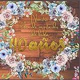 Nuestro libro de invitados de boda 40 años: firmas de boda,Ideas para celebrar la boda,regalo de decoración para felicitaciones y fotos de los ... inicie sesión con foto Marco floral