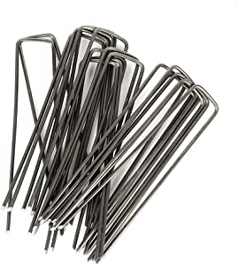 Yugust Garden Landscape Pegs Pins, 20pcs U-Type Stainless Steel Fixing Staples Ground Nail Anchors for Securing Tents Tarps Fences Weed Barrier, Outdoor Wires Cords