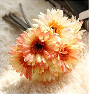 Artfen Artificial Gerbera Flower Artificial Daisy Flowers Bride Bridesmaid Holding Flowers 7 Stems Silk Daisies Flower Wedding Bouquet Living Room Office Party Garden DIY Decoration Autumn Scenery