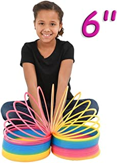 4E's Novelty Jumbo Rainbow Coil Spring 150mm Giant Springs, Great Toy for Kids Bright Colors Large Plastic Springs Birthday Gifts for Kids Boys Girls, 6