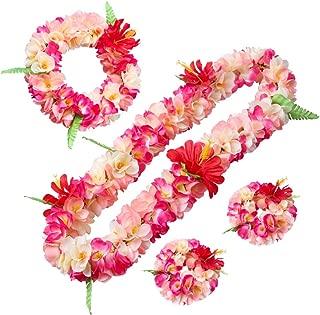 LAYSERI Hawaiian Luau Flower Leis Jumbo Necklace Bracelets Headband Set Mahalo Floral Leis (Pink and Rose red)