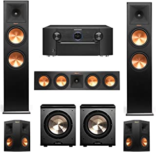Klipsch RP-280F, RP-450C, RP-250s, 2 PL-200 Subwoofers, 5.2 Home Theater System with Marantz SR7010 9.2 Channel Full 4K Ultra HD AV Surround Receiver with Bluetooth & Wi-Fi
