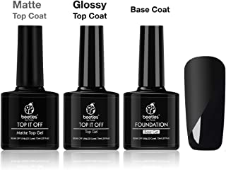 Beetles Matte Top Coat and High Gloss Top Gel Coat Base Coat Set No Wipe top Coat, Gel Nail Polish Matte Shine Finish and Long Lasting, Soak Off UV LED Gel 7.5ml Each Bottle Christmas Holiday Gift Set