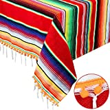 AerWo Mexican Blanket Serape Tablecloth, Upgraded Fiesta Tablecloth with 3D Pom Pom Balls Outdoor Table Cover for Mexican Party Supplies Cinco De Mayo Fiesta Decorations, 59' x 84'