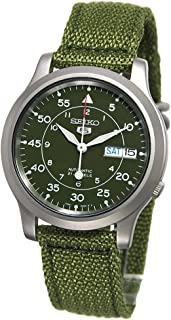 Men's SNK805 Seiko 5 Automatic Stainless Steel Watch with Green Canvas