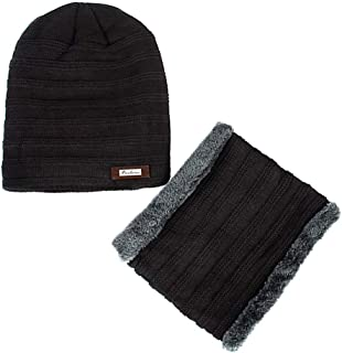 PROOFHEAT Fleece Lined Motorcycle Face Mask Winter Face Shield Beanies Hat Scarf Set Knitted Skull Caps Warm Balaclava Mask