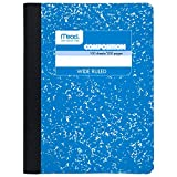 Mead Composition Notebook, Comp Book, Wide Ruled Paper, 100 Sheets, 9-3/4' x 7-1/2', Fashion, Blue (09918AY7)