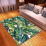 DRTWE Alfombra,Teppich,Abstract Tropical Leaf Printed Velvet Area Rug Living Room Anti-Skid Soft Fluffy Shaggy Rug Bedroom Doorway Carpet Nursery Play Pad Hallway Carpet Runner,122 * 183Cm
