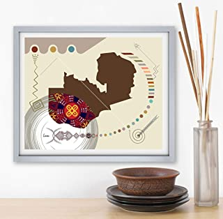 Zambia Map Poster Lusaka Decor East African Art Unframed