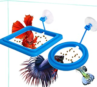 2 Pcs Fish Feeding Ring, Fish Safe Floating Food Feeder Circle Blue, with Suction Cup Easy to Install Aquarium, Square and Round Shape Fish Tank Towels - for Guppy, Betta, Goldfish, Etc.