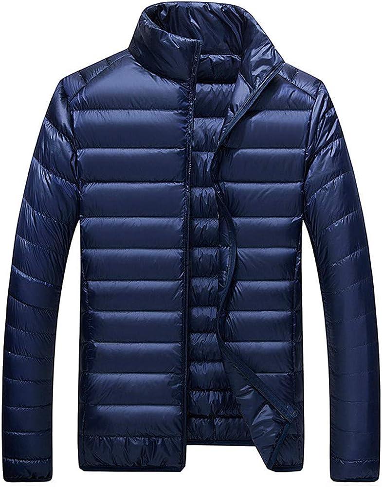 EFFIE Men's Short Warm Down Jacket Winter Stand Collar Slim Lightweight Coat (Dark Blue, XXL)