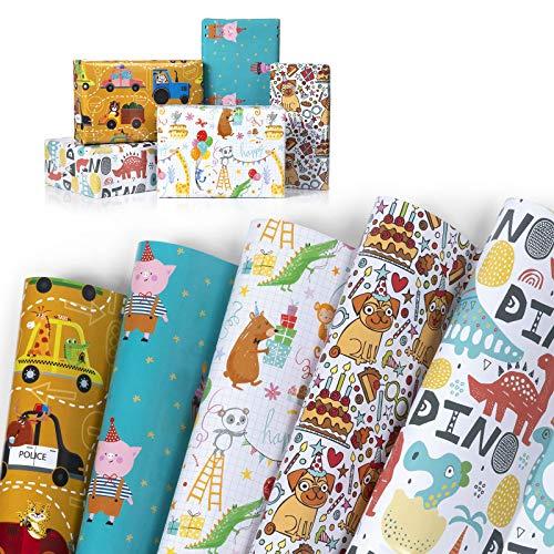 WolinTek Confezione da 5 Carta da Regalo per Bambini Regali, 5 Fantasie for Compleanno, Anniversari, Capodanno Matrimoni e Natale