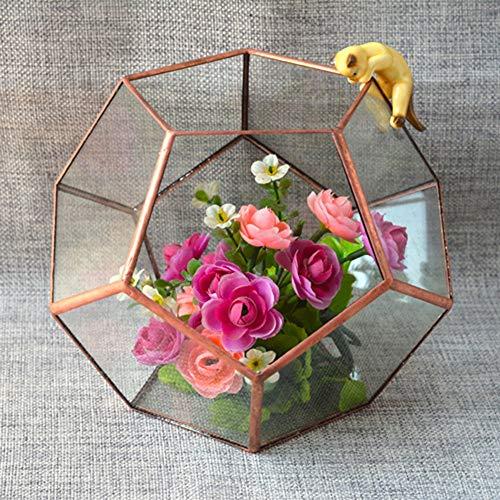 YuanBo Wu Protección del Medio Ambiente de Cristal Cubierta de Flores Flower Room Glass Art Box Bonsai florero de Cristal Tiesto (Color : Oro)