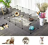 BonChoice 12Pcs DIY Metal Wire Small Animals Pen Playpens Cage for Rabbit, Guinea Pigs, Puppy, Bunny, Pet, DIY Metal Play Yard Fence Indoor & Outdoor