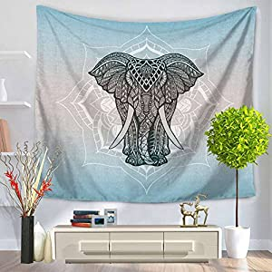 """ChezMax Animals Pattern Square Polyester Tapestry Multi Purpose Decorative Wall Hanging Mural Art for Bedroom Elephant 59"""" X 51"""""""