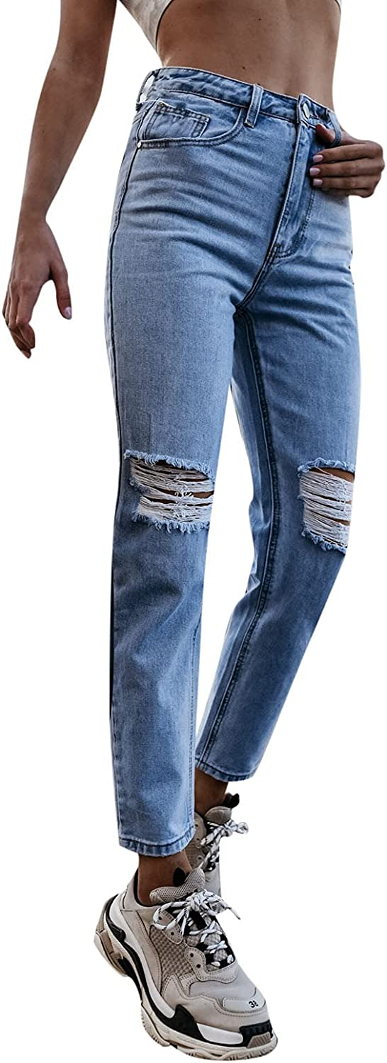 MASZONE High Waisted Jeans for Women Fashion Slim Fit Ripped Skinny Jeans Casual Distressed Denim Trousers Streetwear
