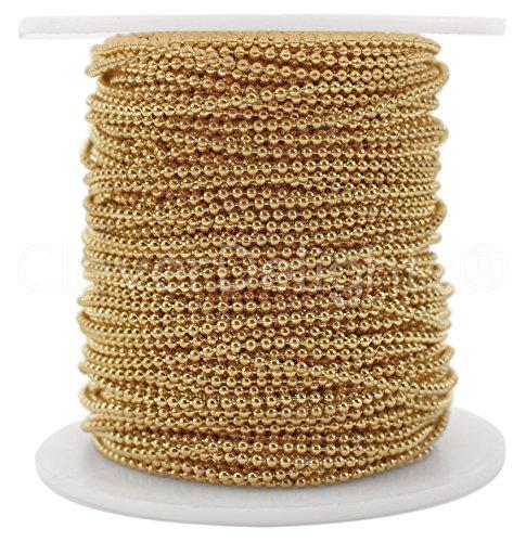CleverDelights Bobina de cadena de bolas–100pies–1,5mm bola (pequeño)–champán de color Dorado–Rollo