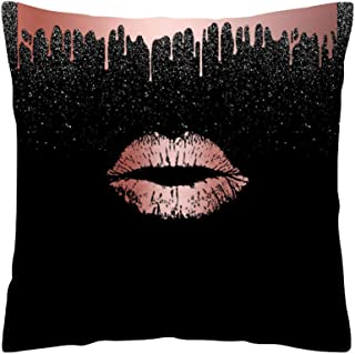 LOKODO Pillow Covers for Couch Cushion Cover Rose Black Gold Cushion Cover Square Pillowcase Home Decoratio