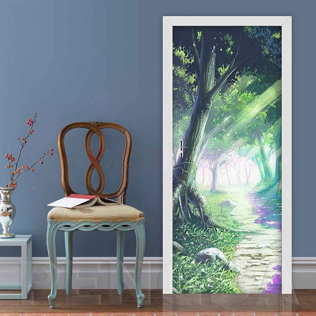 MKNCILN discount 3D Removable Door Stickers Painted woods Self landscape Max 84% OFF