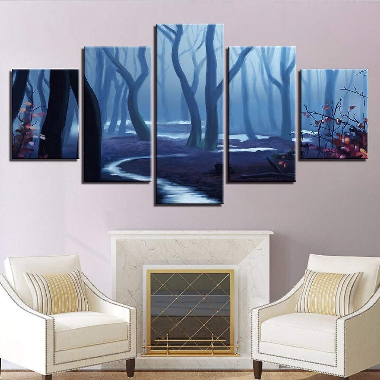 hasta un 50% de descuento Wsxxnhh Lienzo Modular Wall Art HD HD HD Imprime Fotos Decoración para El Hogar 5 Unidades Bosque Niebla Paisaje Paisaje Abstracto árboles Marco De La Pintura-30X40Cmx260Cmx2 80Cmx1  tienda de venta