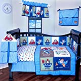 12 Pieces Crib Bedding Nursery set Toys,cars,boats,airplanes,baby boy bumper included soft and cute