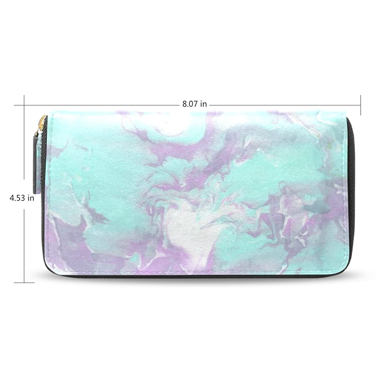 考えたきつくはさみWomens Marbleインク紙パターン長財布財布ケースカードホルダーe42