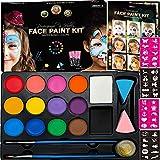 Face Paint Kit for Kids, Large Water Based Paints, Halloween Makeup Kit, Professional Face Paint Palette, Face Paints Safe for Sensitive Skin (14 Color + Face Paint Book)