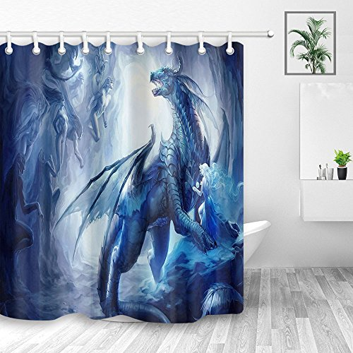 Ancient Ice Dragons Shower Curtain, Flying Dragon with Wing Protect Girl,Polyester Fabric Waterproof Shower Curtain for Bathroom, Bath Curtain Hooks Included, 70X70in