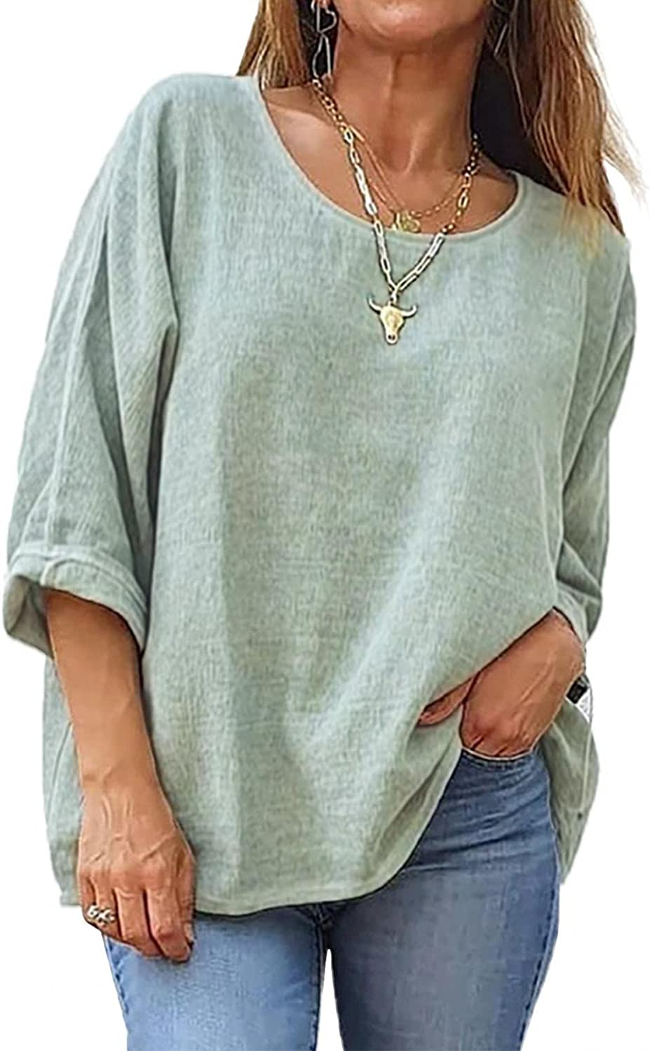 YUNDAN Womens 3/4 Sleeve Cotton Linen Shirts Casual Solid Loose Fit Basic Round Neck Tops Jacquard Comfy Blouses Tunic