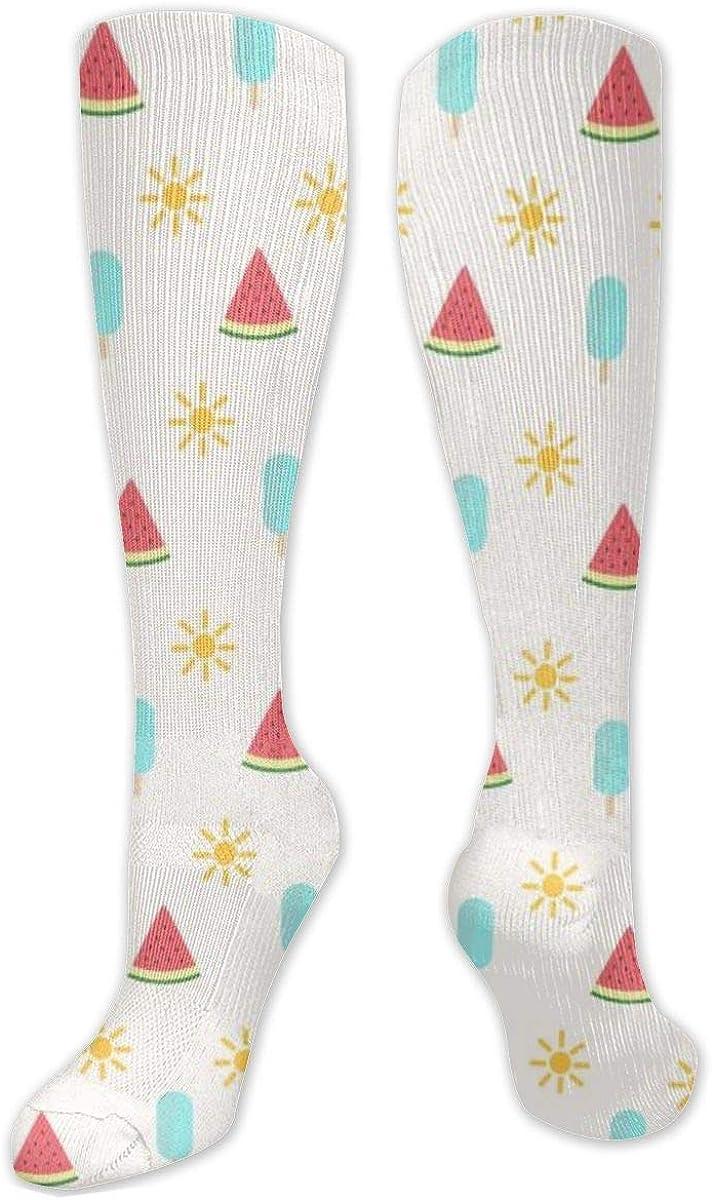 Sun And Watermelon Knee High Socks Leg Warmer Dresses Long Boot Stockings For Womens Cosplay Daily Wear