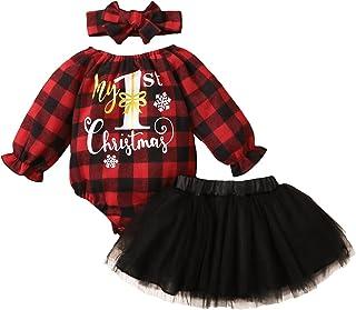 3PCS الرضع طفل الفتيات عيد الميلاد إلكتروني طباعة منقوشة رومبير ارتداءها+ تول التنانير itfits (Color : Black, Kid Size : 18M)