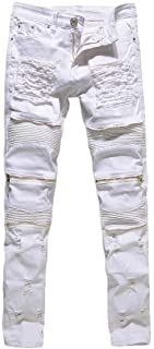 Rexcyril Men's Moto Biker Jeans Distressed Ripped Skinny Slim Fit Denim Pants with Zippers