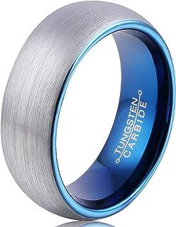 خاتم FCL من التنجستين للرجال مطلي باللون الأزرق خاتم الزفاف 8 مم مقبب 8 مم سطح مصقول غير لامع الحجم 7-13