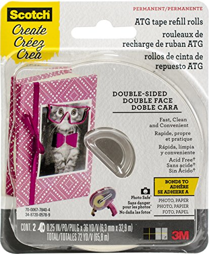 Scotch CAT 085 Advanced Tape Glider with 2 Rolls of 1//4-Inch by 36-Yard Acid Free Tape,Cure Pink