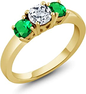 1.20 Ct White Topaz Green Simulated Emerald 18K Yellow Gold Plated Silver Ring