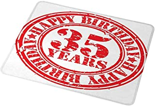 Gaming Mouse Pad Customized 35th Birthday,Dated Display of Stamp with 35 Years Circular Sign Aged Look Happiness Theme,Red White,Custom Design Gaming Mouse Pad 9.8