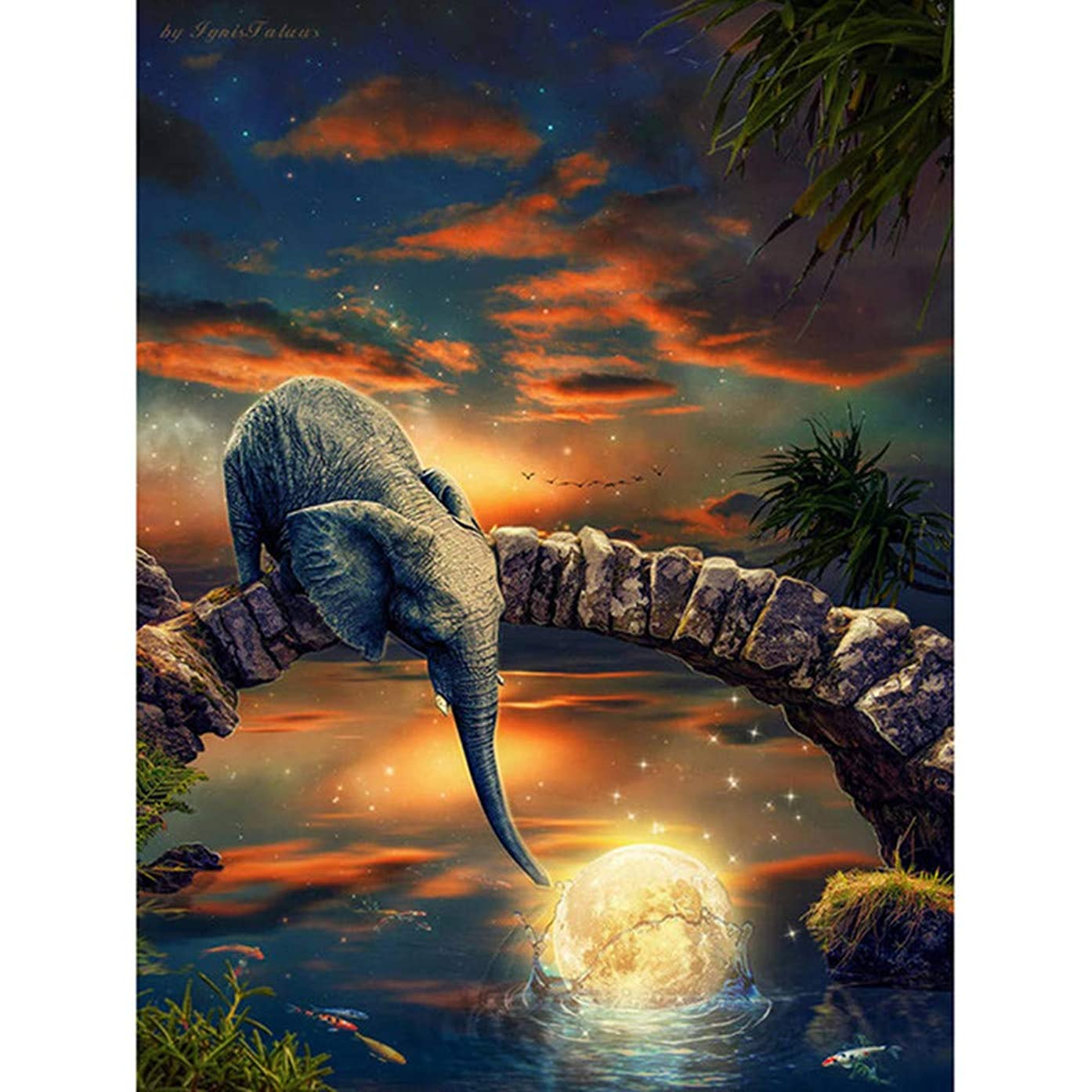 DIY 5D Diamond Painting by Number Kits, Crystal Rhinestone Diamond Embroidery Paintings Pictures Arts Craft for Home Wall Decor, Full Drill,Elephant and Moon 11.8X15.7 inch