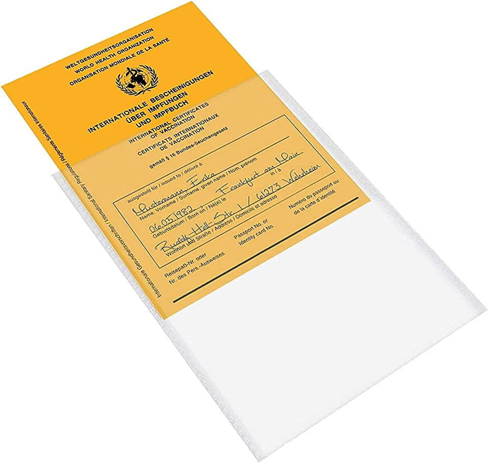 Impfpass Hülle - 2 x Hülle für Impfpass Impfausweis - 109x155 mm - Premium Hülle Impfpass Impfausweis - Schutzhülle transparent Impfausweis - Reißfeste Impfpasshülle für Erwachsene und Kinder (2PC)