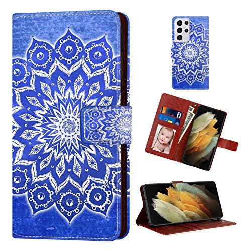 Naikuyi Funda tipo cartera con diseño de mandala azul con ranuras para tarjetas, correa de muñeca para Samsung Galaxy S21 Ultra modelo para niñas y mujeres