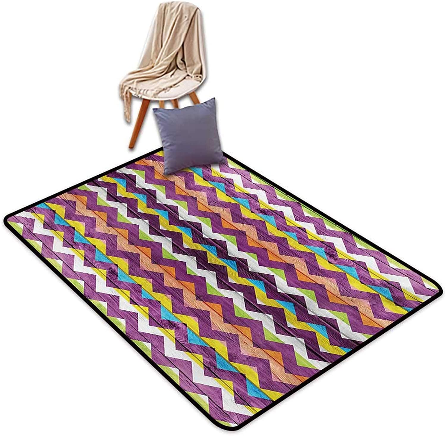 Chevron Household Bathroom Door mat Chevron Schemes on Wood Texture Geometrical Similar to Triangle Vibrant Graphic Water Absorption, Anti-Skid and Oil Proof 48  Wx59 L Multicolor