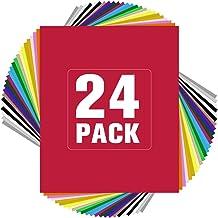 "JANDJPACKAGING HTV Heat Transfer Vinyl Bundle - 24 Pack 10"" x 12"" Iron on Vinyl Bundle with 21 Vivid Colors HTV Vinyl Bundle for Cricut & Silhouette Cameo"