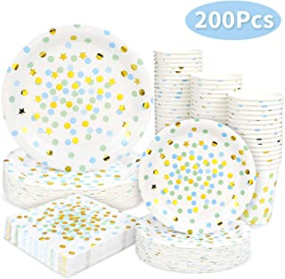 Blue and Gold Dot Party Supplies - 200PCS Disposable Blue Paper Plates Dinnerware Confetti Dots Gold Star 50 Dinner Plates 50 Dessert Plates 50 9oz Cups 50 Napkins Wedding Birthday Party Baby Shower